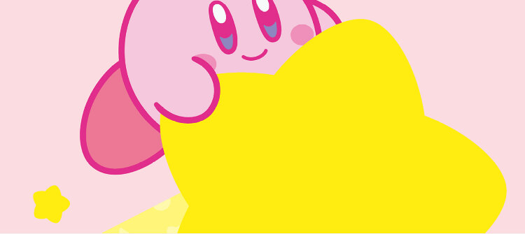 kirby holding onto a large yellow star