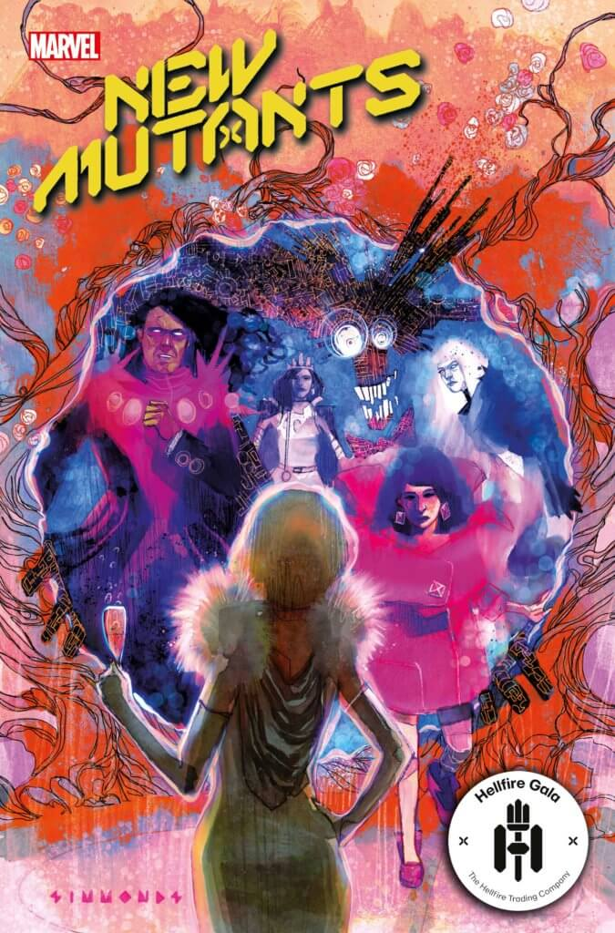 The cover of New Mutants #19, art by Martin Simmonds. The New Mutants team emerges from a Krakoan Gate, greeted by Emma Frost, who the viewer sees from the back holding a champagne flute. The team is in bright finery, Karma in an especially bright pink.