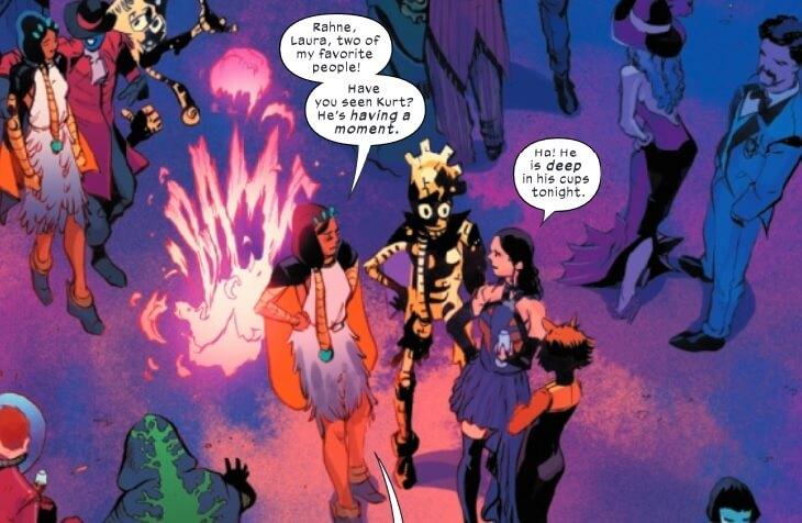 Dani Moonstar, Warlock, Wolverine (Laura), and Rahne at the Hellfire Gala. Art by Alex Lins and Matt Milla, New Mutants #19, Marvel Comics, 2021.