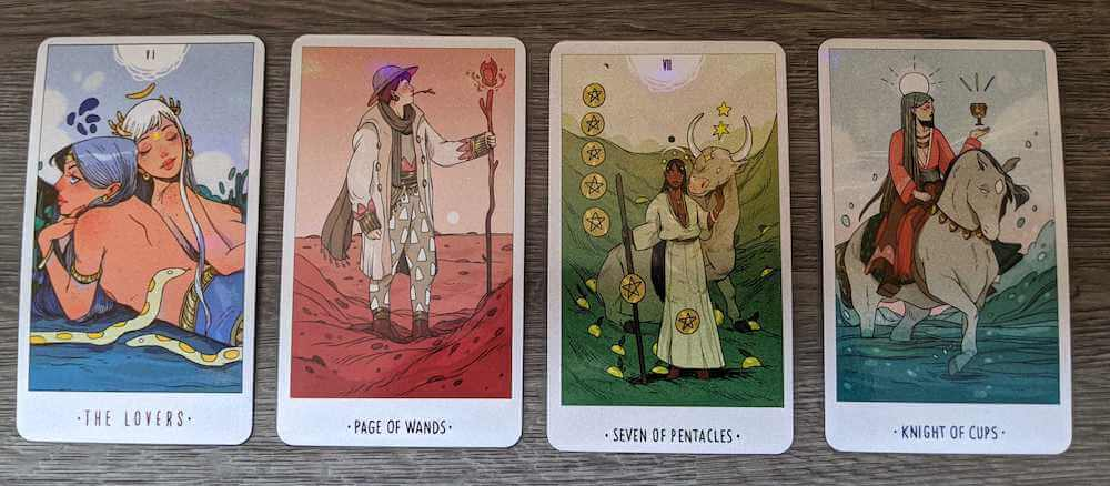 4 cards from the White Numen: the Lovers, the Page of Wands, the 7 of pentacles, the Knight of cups