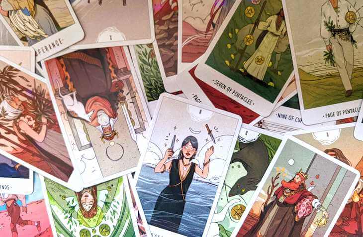 A variety of cards from the White Numen tarot