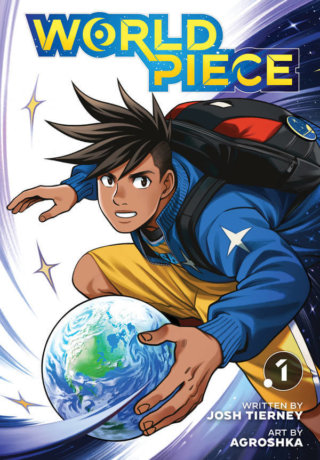 cover of World Piece volume 1 depicting Lucas holding Earth like a basketball
