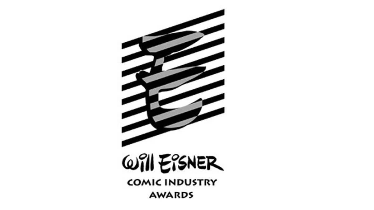 The logo for the Eisner Awards sits on a background with the text Will Eisner Comic Industry Awards