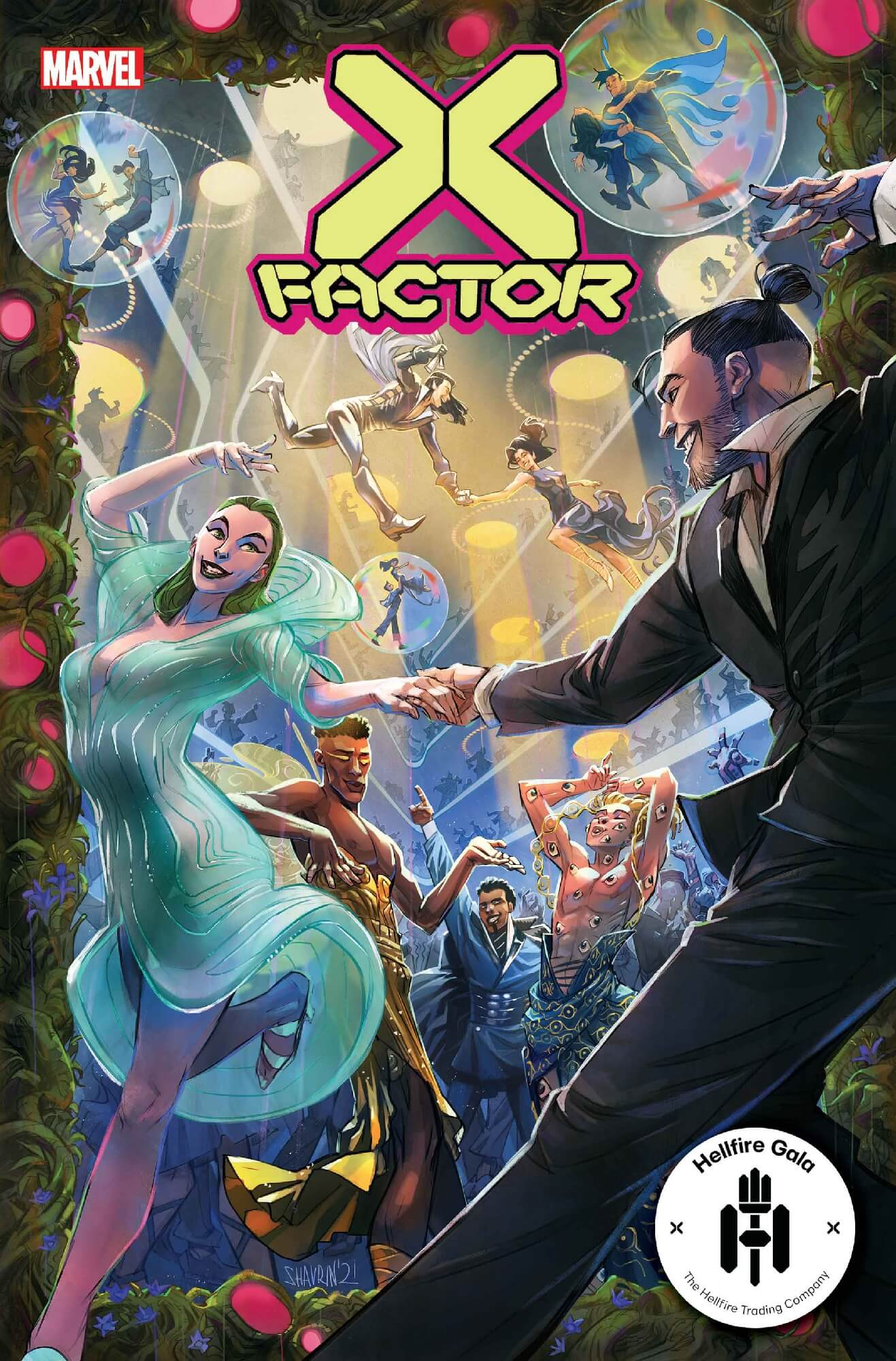 The cover of X-Factor #10 by Ivan Shavrin: Polaris in a green dress dances with Daken in a suit in the foreground, while other members of the team dance behind them. Northstar and Aurora are dancing in the air, and everyone is dressed up because it's the Hellfire Gala.