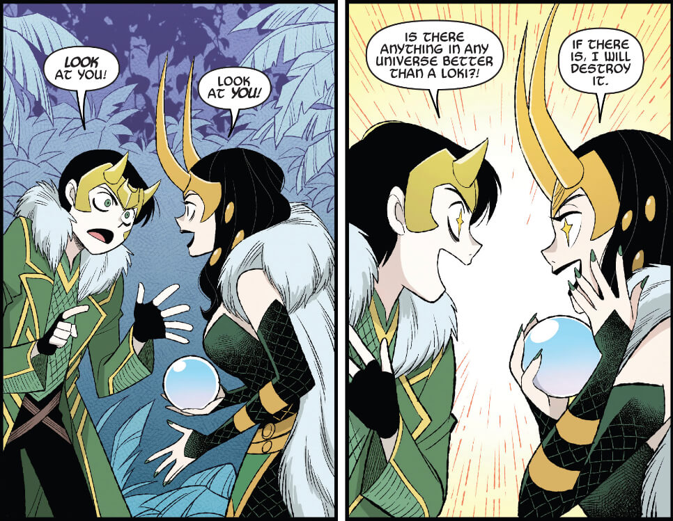Loki and Lady Loki delight at discovering that there are other versions of themselves