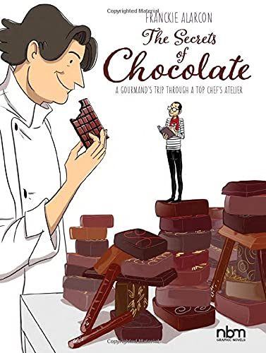 A chef stands over an adoring man in a striped shirt and red kerchief, who perches on a hunk of chocolate while drawin. The chef smirks at him as he takes a bite out of a bar.