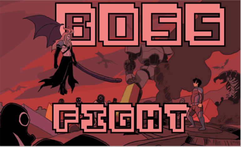 Stylized video game text says BOSS FIGHT above an image of Ken facing his ex, who looks like Sephiroth from the Final Fantasy games and is holding a giant penis-katana