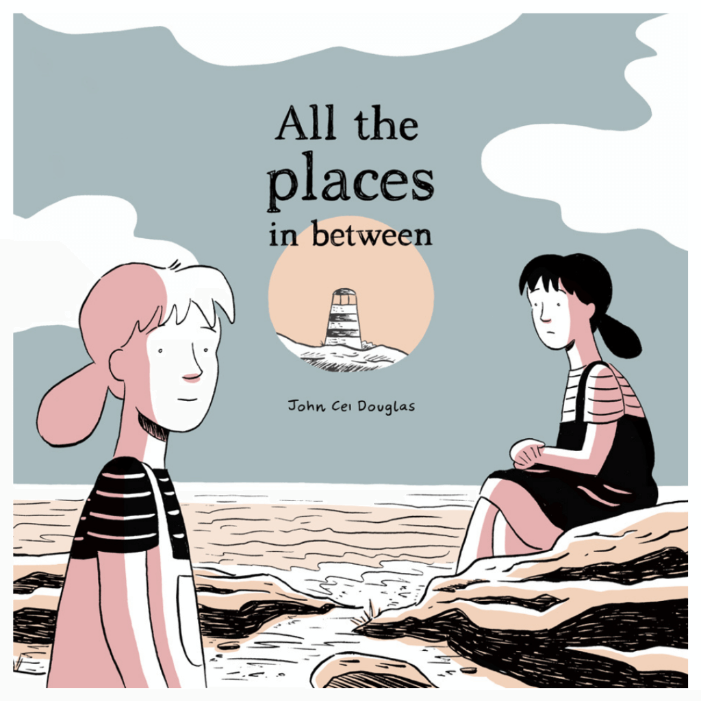 The cover of All the Places in Between, two girls sitting on rocks beside the sea