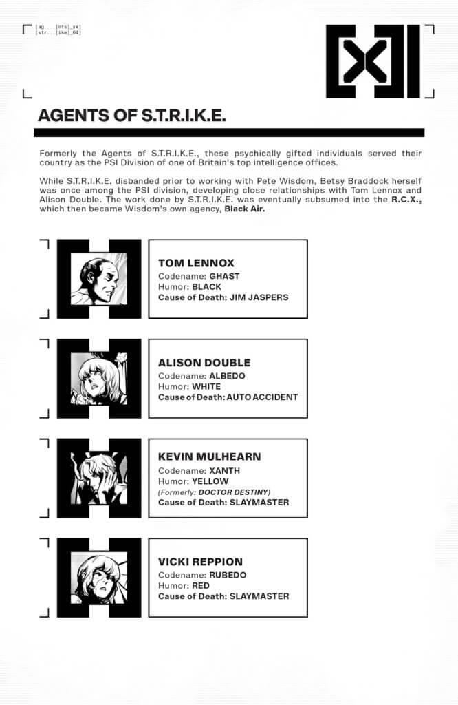 Data page from Excalibur 22 by writer Tini Howard and artist Marcus To depicting mutant Agents of Strike along with information about their new code names and code colored humors