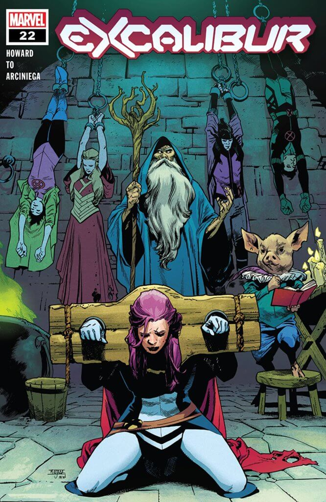 Excalibur being held in Merlin's torture chamber on the cover of Excalibur #22 with Betsy in a stock.