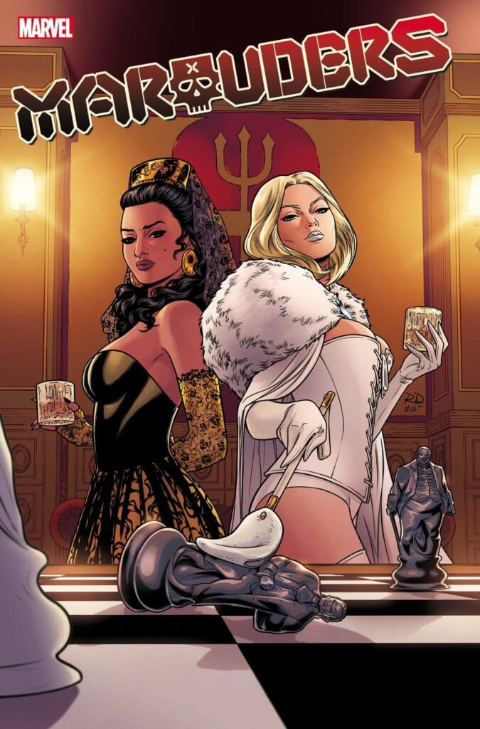 Emma Frost in white and Lourdes in black stand back to back over a large chess board. Emma uses a point to knock over the chess piece that looks like Sebastian Shaw