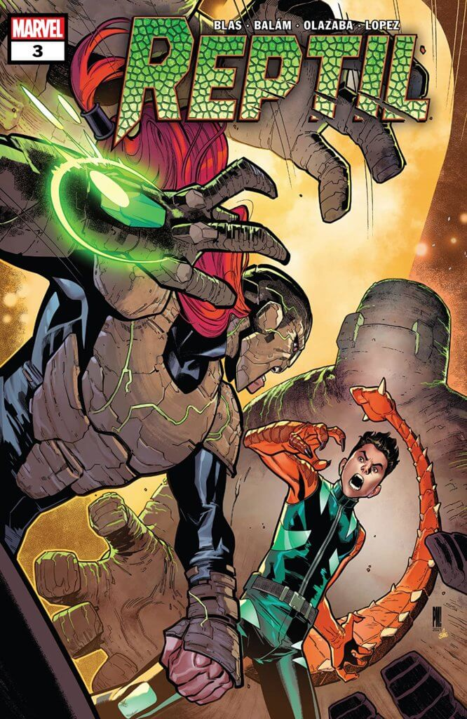 Paco Medina and Federico Blee's cover for Reptil #3 by writer Terry Blas, penciler Enid Balám, inker Victor Olazaba, colorist Carlos Lopez, and letterer Joe Sabino depicting Reptil fighting a villain