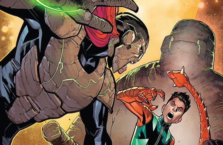 Paco Medina and Federico Blee's cover for Reptil #3 by writer Terry Blas, penciler Enid Balám, inker Victor Olazaba, colorist Carlos Lopez, and letterer Joe Sabino feature image depicting Reptil fighting a villain