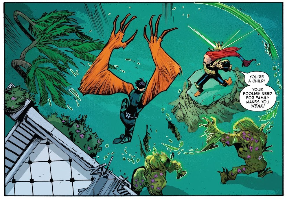 Panel from Reptil #3 by writer Terry Blas, penciler Enid Balám, inker Victor Olazaba, colorist Carlos Lopez, and letterer Joe Sabino depicting Reptil fighting villains