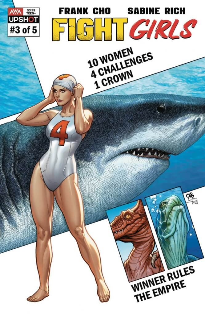 An athletic woman in a swimsuit adjusts her swimcap. A large shark looms in the panel behind her and a the head of a dinosaur and a turtle are in panels below