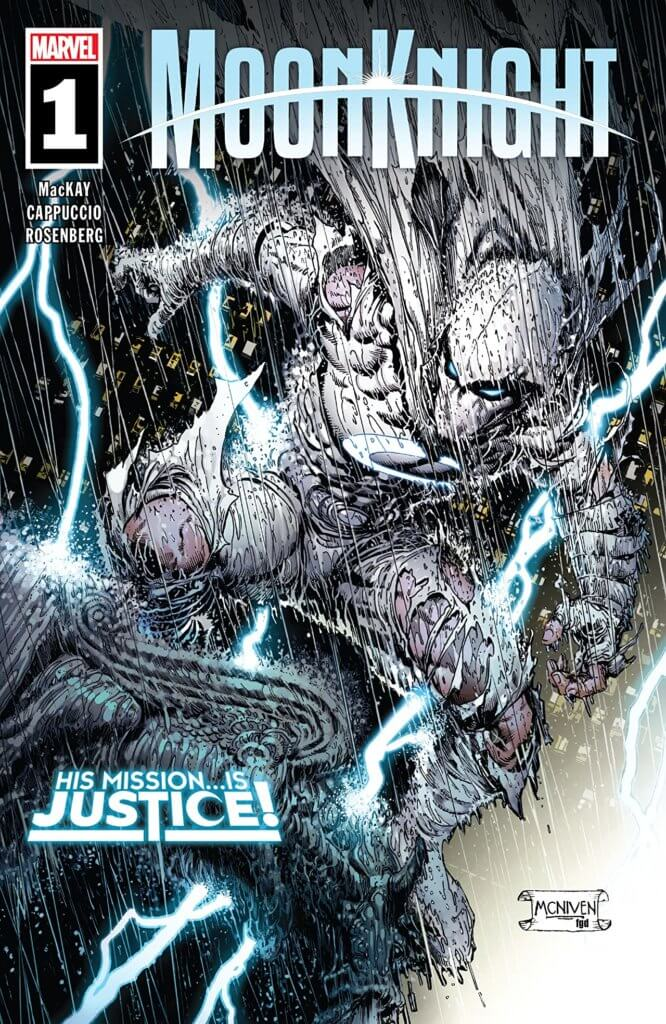 Steve McNiven and Frank D'Armata's cover for Moon Knight #1 by writer Jed MacKay, artist Alessandro Cappuccio, colorist Rachelle Rosenberg, and letterer Cory Petit depicting Moon Knight in the rain