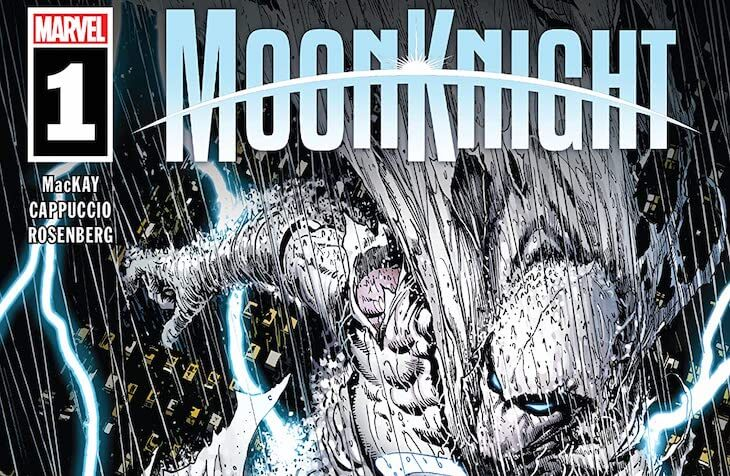 Steve McNiven and Frank D'Armata's cover for Moon Knight #1 by writer Jed MacKay, artist Alessandro Cappuccio, colorist Rachelle Rosenberg, and letterer Cory Petit feature image depicting Moon Knight in the rain