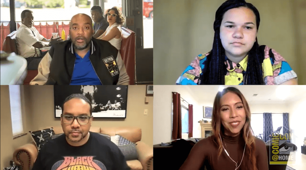 A panel of four BIPOC people, two men and two women, in a virtual meeting