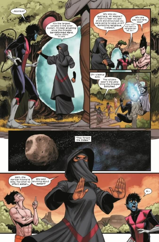 Sooraya walks through a Krakoan gate, informing Nightcrawler and the others that the terraformers of Mars did not account for the volcanos