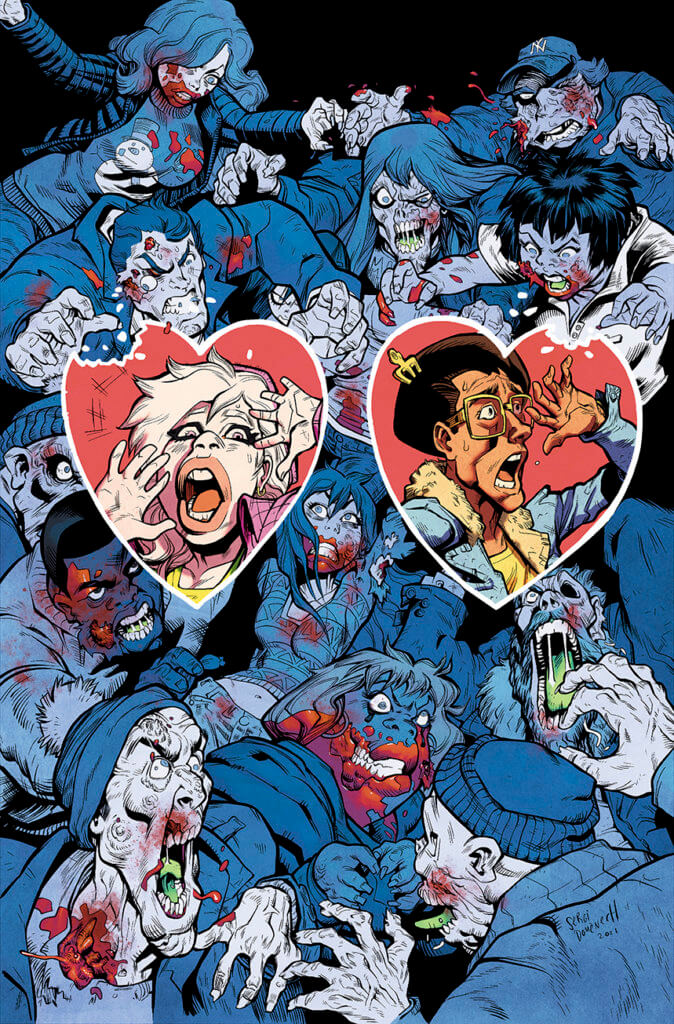 The cover for Zombie Date Night with main characters front and center in hearts with a horde of zombies behind them