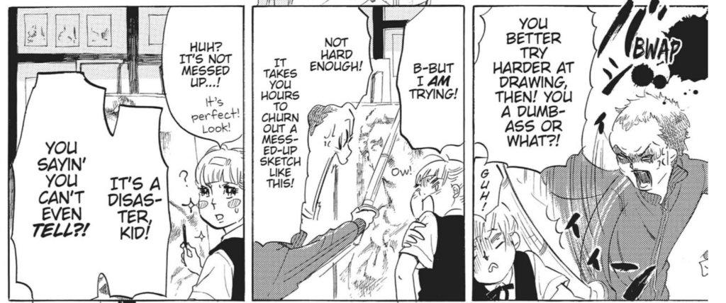 Hidaka-sensei hitting Higashimura with a bamboo sword for messing up her drawing