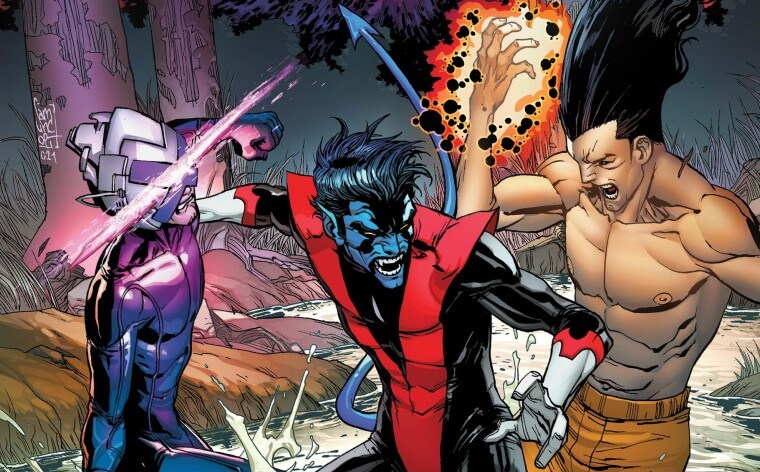 Nightcrawler is in between Legion and Xavier, trying to hold them apart as they try to fight each other