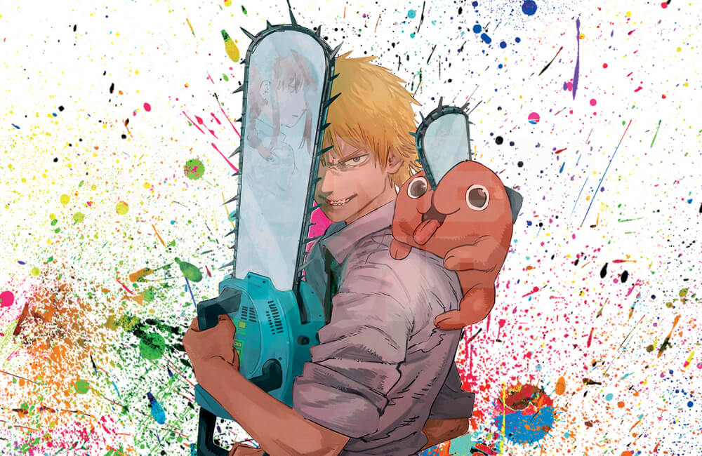 Chainsaw Man promotional image depicting Denji holding a chainsaw and pochita on his shoulder against rainbow splatter patterns.