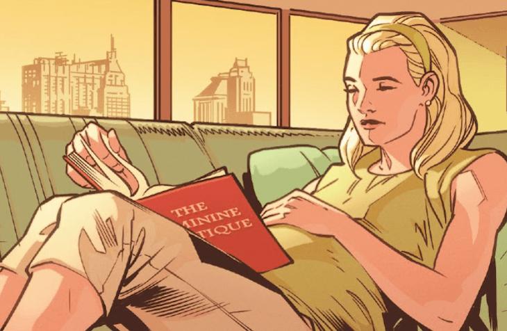 """Sue Storm reading """"The Feminine Mystique"""""""
