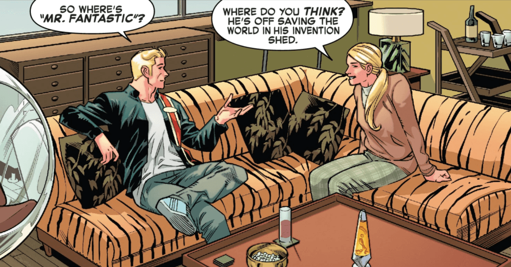 Johnny and Susan Storm sit in a seventies-inspired living room and discuss Reed Richards, but their clothing is distinctly un-seventies.