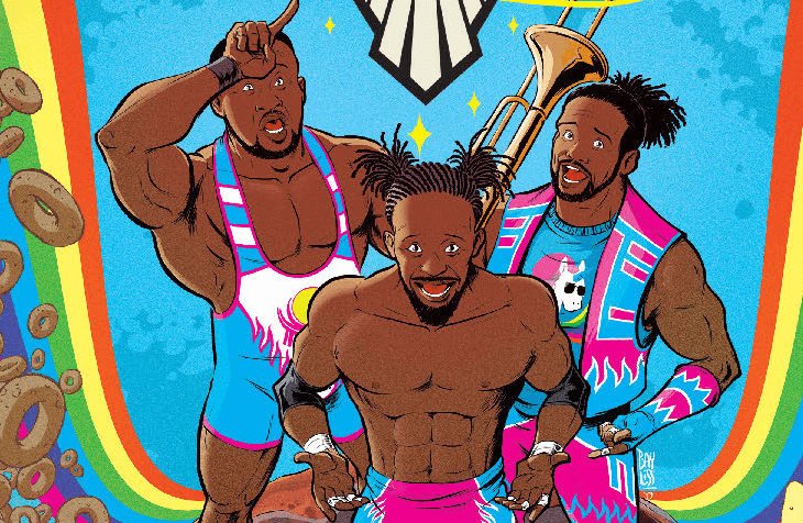 Three muscular Black men stand at the centerof the image, each of them smiling. The man on the left, big E, holds his index finger to his forehead and projects it outward, making a unicorn horn shape. They are all wearing wrestling tights in bright blue and pink and white shades, and stand on a syrup-covered stack of pancakes. Around them, brown donuts rain down to their left and right