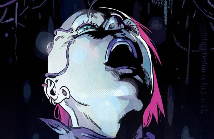 A white woman is looking up, her mouth open in horror as wires come down from above toward her open eye. Other wires run from her right eye to the side of her head, which is shaved. The unshaved side is bright pink, and she has multiple piercings.