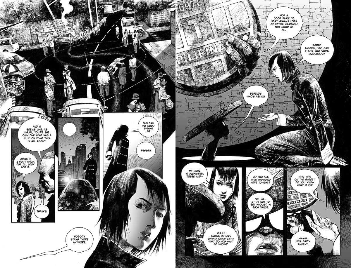 A two-page spread of black and white comic pages. From left to right: on the first page, a young woman with short, black hair approaches a scene of a car accident already marked and surrounded by law enforcement. The woman approaches a mound on ground and tries to greet it, only to be called out off-frame, in a sequence that continues on to the next page. She kneels down to converse with a creature under a sewer manhole cover.