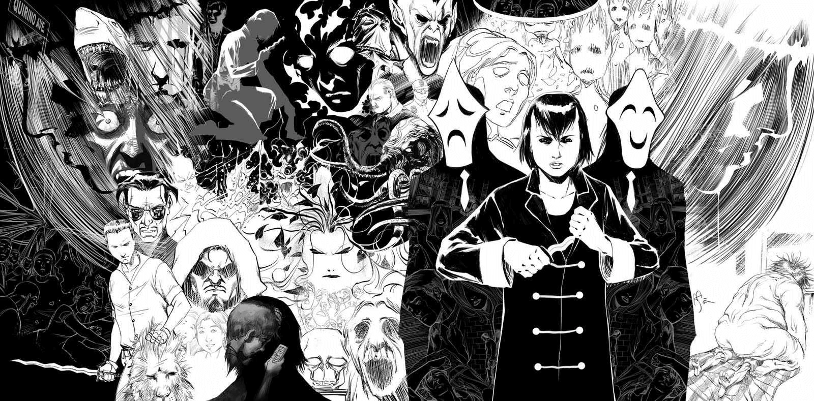 An illustrative collage of various characters from the series Trese, set as a backdrop behind a young woman and a pair of two dark-suited figures wearing masks. The woman has short black hair and and holds a knife, holding its point with another hand.