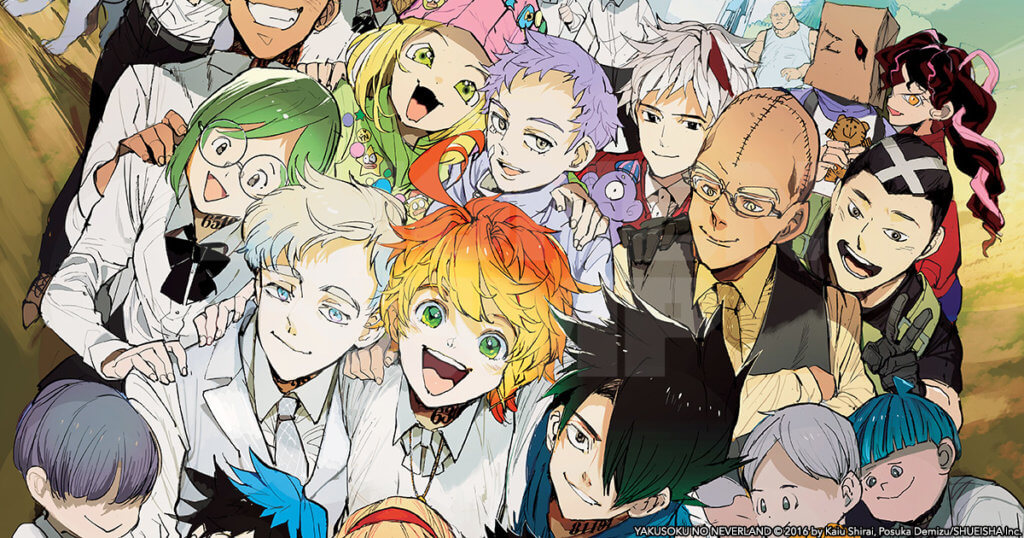 The Promised Neverland promotional image featuring a group shot of the cast.