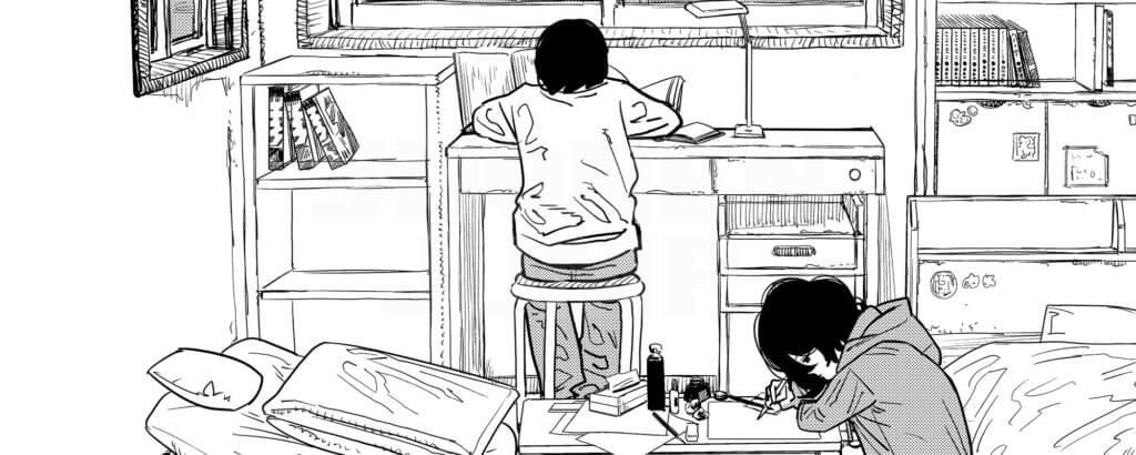 Panel from Look Back depicting Fujino and Kyomoto working on manga in Fujino's room.