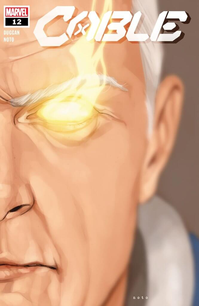 The cover to Cable #12, showing Old Man Cable scowling at the reader.