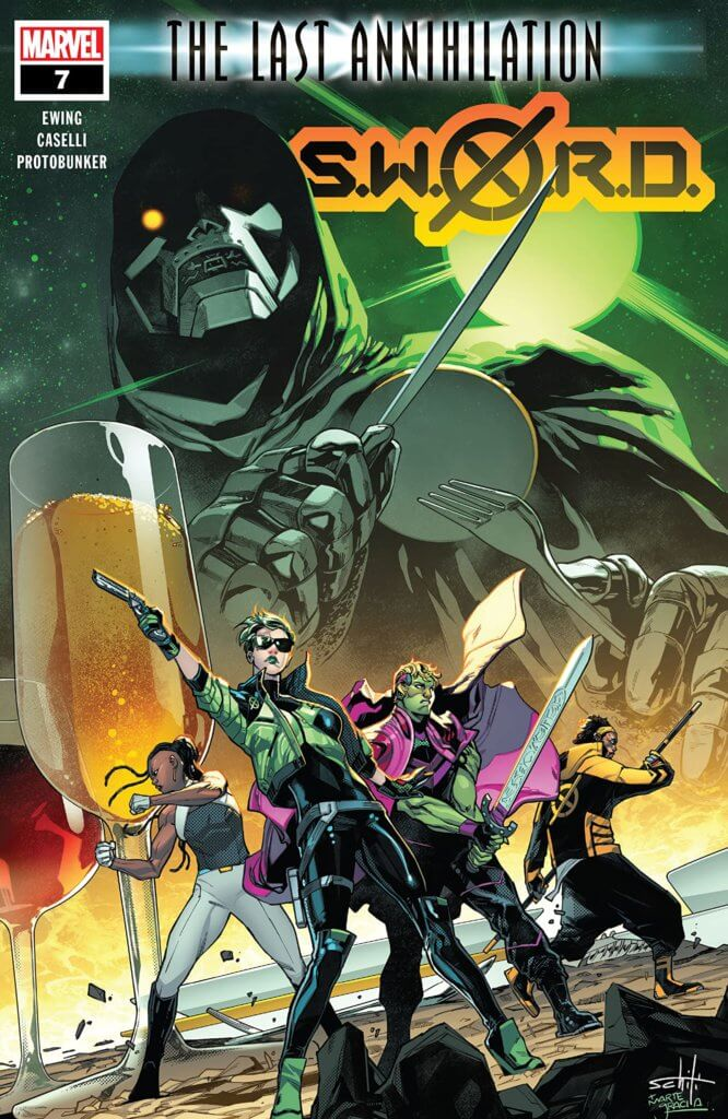 The cover to SWORD #7, Dr. Doom looms over members of SWORD and Emperor Hulkling.