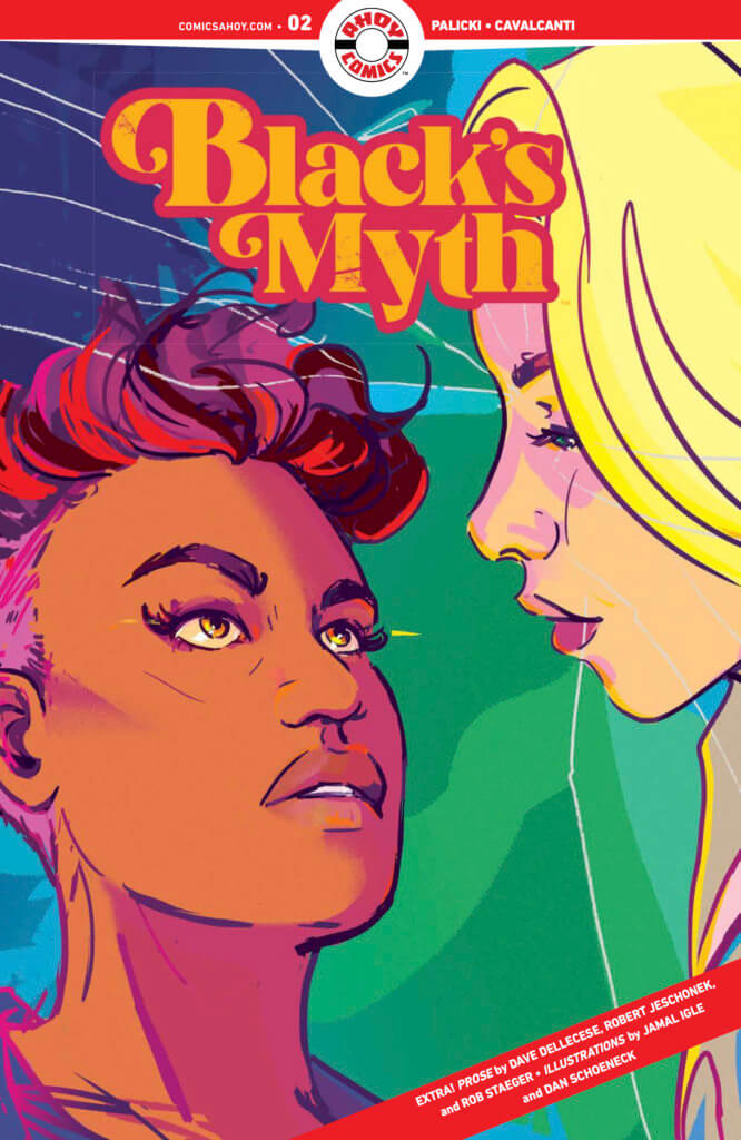 The cover to Black's Myth #2, showing Strummer and Carly Barnhardt looking at one another. Strummer, a young woman of color with short curly hair, has her eyes open, while Carly, a young blonde white woman, has her eyes closed.