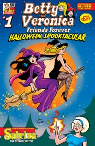Veronica Lodge - a white, dark-haired teenager wearing a sweeping ankle-length purple witch's robe and hat - gasps in amazement as the broom she and her best friend are riding takes off. Betty Cooper - a thin white blonde teenager- sits before her with a much more enthusiastic expresson on her face, holding on to the broom and wearing a thigh-high black dress, black fishnet stocking s and pumps, a black witch's hat with a blue ribbon on it atop her head. On the ground, white thin teenager sabrina spellman stands in the foreground, a blue headband on her head, and magical flames arising from her hand - she is clearly the one manipulating the broom to fly. Betty and Veronica hover before an orange moon and a blue sky, and Sabrina stands in a green pine forresy. The broom and it occupants are haloed by sparkles