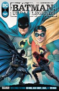 Batman and Robin, happy, behind Batman fighting Red Hood