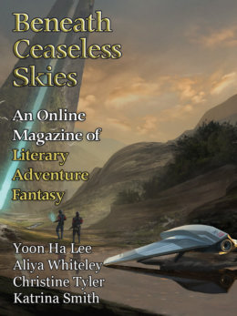 Cover of Beneath Ceaseless Skies #298 showing a scienc efictio nscene of two armed figures by a futuristic vehicle