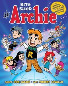 Archie Andrews, a white, redheaded teenager with thick black eyebrows, poses with his arms spread wide open and a big smile on his face. He wears a black sweater vest with a large yellow Rin the center of it, a blue and white polka-dot bowtie, a white shirt and yellow and black checked slacks. He's drawn chibi style, as arehis friends - white redheaded teenager cheryl blossom, holding a lit match and wearing a blue sheath dress; Vampiric Veronica lodge in a purple outfit with a blue headband in her long black hair; Betty Cooper, a white blonde teenager with white, dark-haired jughead jones floating mid-air surrounded by floating fast food chicken nuggets, he wears a blue sweatshirt with a hamburger design and wears a grey fool's cap on his head, and black slacks. They stand upon a globe against a dark purple background