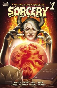 A white adult woman with white bangs and long nails, black horns sprouting from her head stands before a glowing orange and red crystal ball which shows terrifying images of screaming skulls and werewolves within it. Behind her orange and red flames flare up and in the foreground a satanic brown leather tome sits