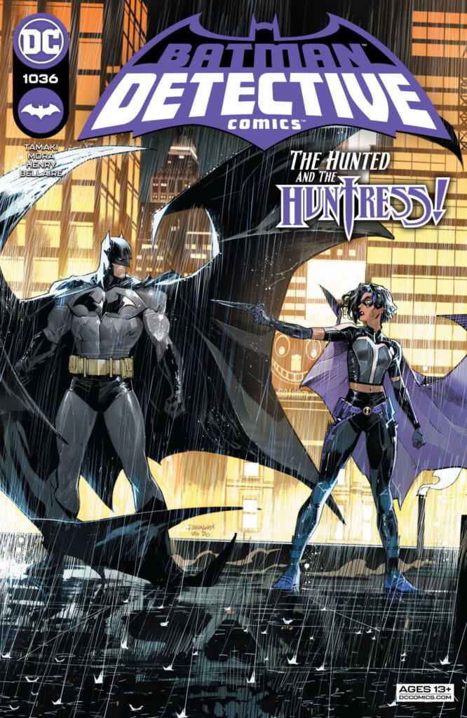 Batman and Huntress face off, with Huntress pointing a weapon at him