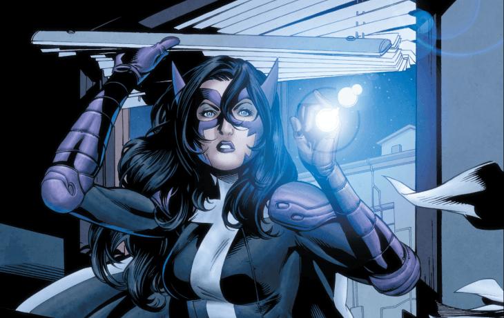 Huntress climbs through a window, holding a flashlight
