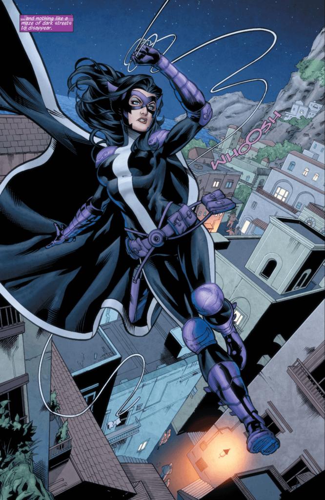 Huntress swings across the city