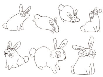 Sketches of bunnies with large eyes