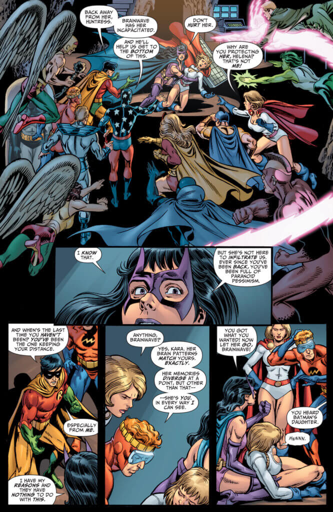 The justice league arrives to warn Helena away from the Power Girl duplicate