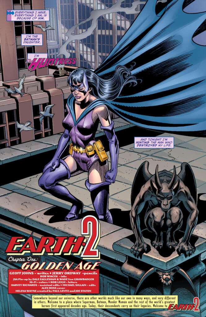 Huntress stands on top- of a building thinking about how she has to hunt the man who has betrayed her: Batman