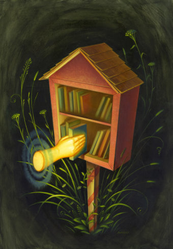 """Illustration for Naomi Kritzer's """"Little Free Library"""" showing a magical disembodied hand taking a book out of a miniature library"""